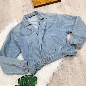 Brandy Melville Denim Cropped Light Wash Jacket